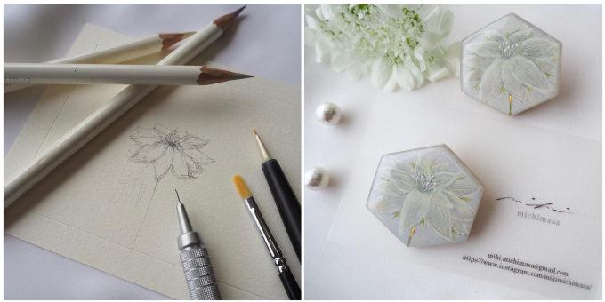 草花の絵画が身に着けられるアクセサリーに。「mikimichimasa」のブローチ&ピアス