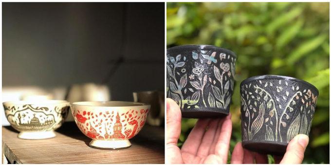 見て、触れて楽しめる。凹凸感のある手彫り模様に惹き込まれる萩原由希子さんの器