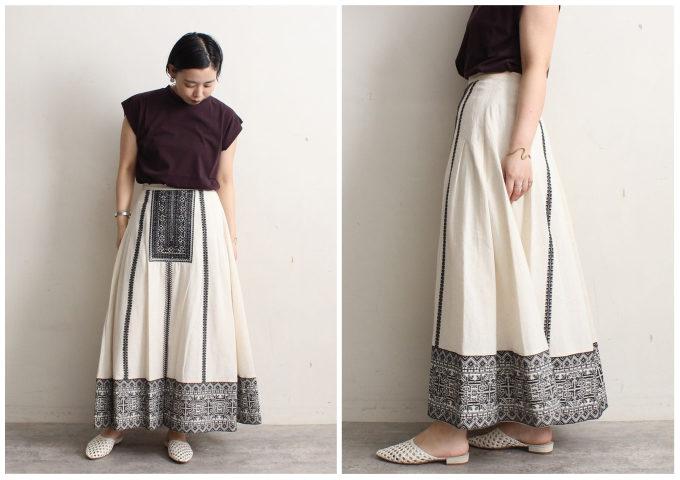 体型カバー効果も期待できる。柄スカートを使った大人の<夏~秋>コーディネート