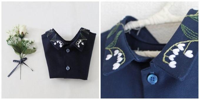 シンプルなニットやワンピースに合わせるだけ。首元を刺繍で彩る「NOIR」の着け襟