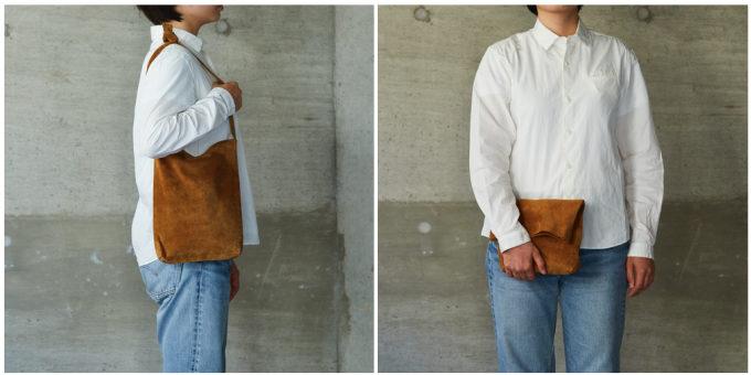 柔らかさと美しい色に惹かれる。幅広い服装に合わせられる「KEESE」ピッグスエードバッグ