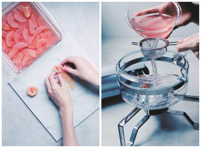 身近な材料で作れる。気軽に挑戦したい透明スイーツ「四角い桃の薔薇レアチーズケーキ」レシピ