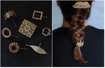 秋のシックな装いに合わせたい。「atelier eMu」が手作りする、繊細な真鍮の髪飾り