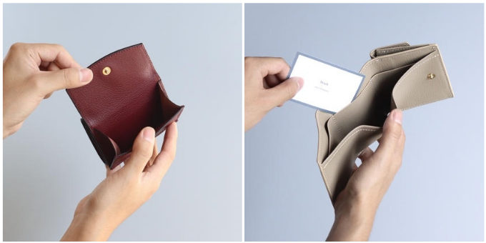 裏地まで上質な本革を使用。丈夫で長く使い続けられる、「Brush」のシンプルなミニ財布