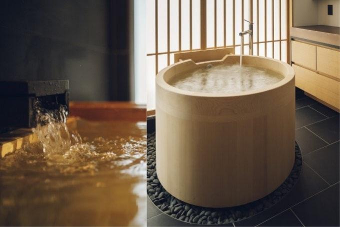 京都三条のホテル「nol kyoto sanjo」の客室のヒバ浴槽
