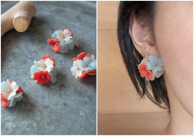 いつものマスク姿が華やぐ。耳もとで可憐に咲く「地下3階」のお花イヤーアクセ