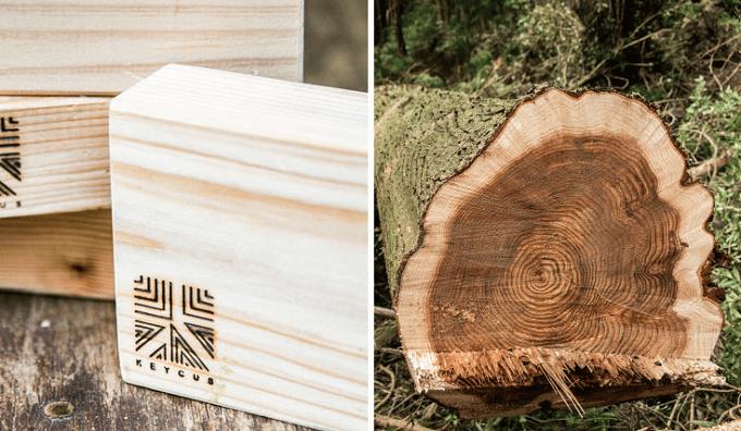 木材を余すことなく活かすデザイン。森を身近に感じられるピアス&ブローチセット