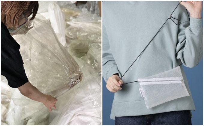 外装にも内装にも、リサイクルの素材を使用。環境にやさしくおしゃれなサコッシュバッグ