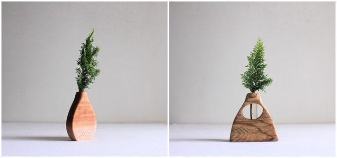 まるで木々が語りかけてくるよう。表情豊かな無垢材で作られる、「ITOKOTO」の花器