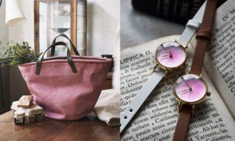 桜色が春の空気を運んできそう。職人の手で丁寧に作られるこだわりのトートバッグ&腕時計