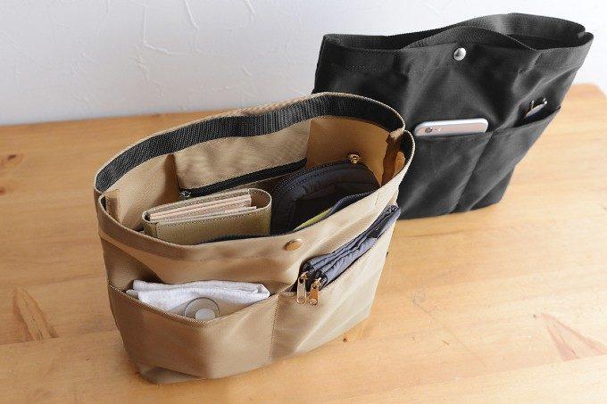 バッグの中をすっきり収納。深めシルエットと8つのポケットが便利なバッグインバッグ
