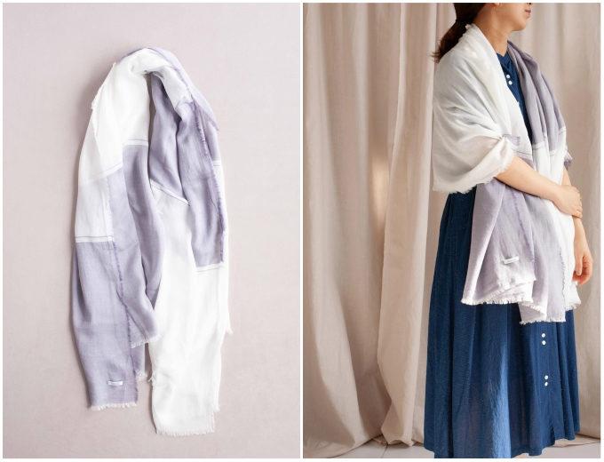 大判ながら軽やかな付け心地。上質な素材と美しいデザインが魅力的な「hatsutoki」のストール