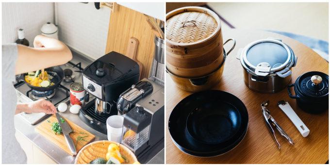 一人暮らしの狭いキッチンにおすすめのアイデア。調理器具を厳選したキッチン