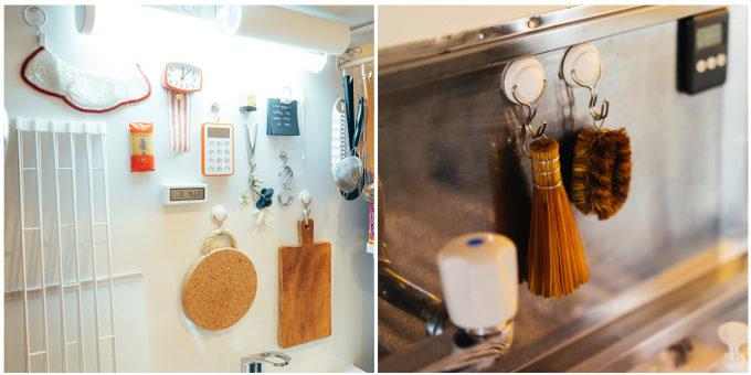 一人暮らしの狭いキッチンにおすすめの収納アイデア。壁面収納を活用したキッチン