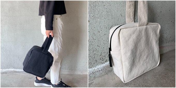 夏のシンプルコーデに映える。素材感に惹かれる「R-marble」のモノトーン帆布バッグ