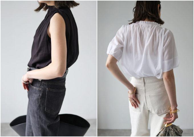 一枚で着映える「襟・袖コンシャス」を取り入れる。トレンドトップスの大人な着こなし<6選>
