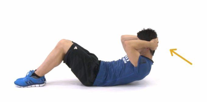 腰痛改善におすすめのエクササイズ「クランチ」の手順